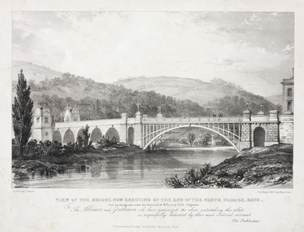 'View of the Bridge now erecting at the end of the North Parade, Bath', c 1820.