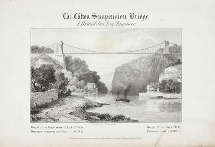 'The Clifton Suspension Bridge', Bristol, 1830s.