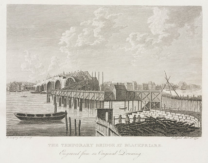 'The Temporary Bridge at Blackfriars', London, 1760s.