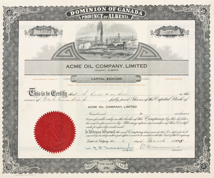 Share certificate for Acme Oil, 1915.
