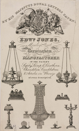 Trade card of Edward Jones, lamp, lantern and chandelier makers, c 1830.