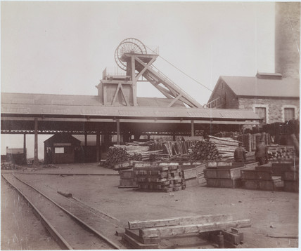 Yard at pit head, Wales, 1880-1895.