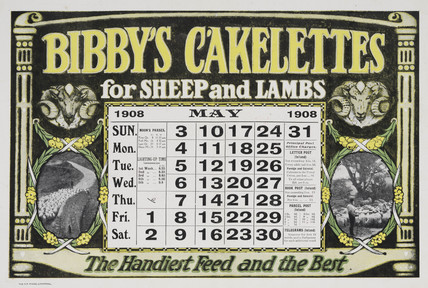 'Bibby's Cakelettes for Sheep and Lambs', calendar, 1908.