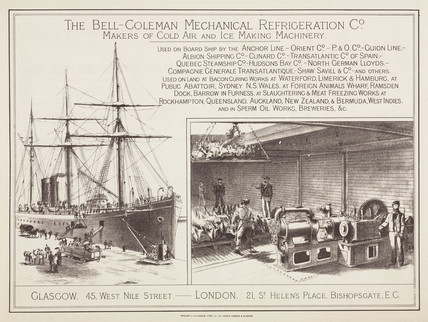 Advertisement for the Bell-Coleman Mechanical Refrigeration Co, c 1890.