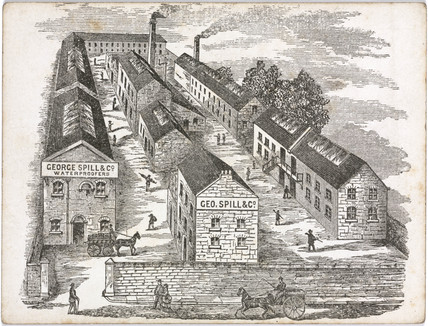 Trade card showing the premises of George Spill & Co, c 1855.