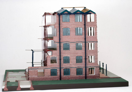 Model of Bage's flax mill at Shrewbury, constructed by Cecil A. Hewett.