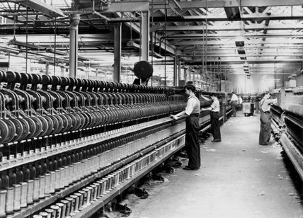 Spinning frames at a jute factory, c 1930.