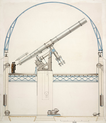Reflecting telescope with dome, 1900-1914.