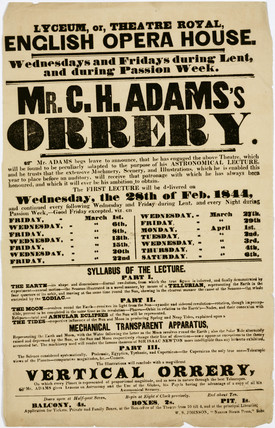 'Mr C H Adams's Orrery', handbill, London, 1844.