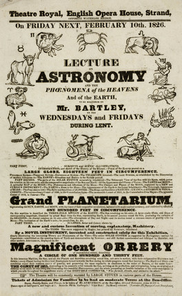Lecture on astronomy by Mr Bartley, handbill, London, 1826.
