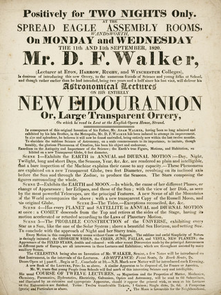 Handbill advertising astronomical lectures, Wandsworth, London, 1820.