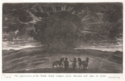 Total solar eclipse viewed from Haradon Hill, Wiltshire, 11 May 1724.