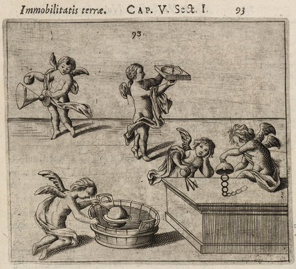 Cherubs conducting experiments to prove the immobility of the Earth, 1645.