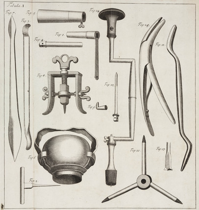 Surgical instruments, 1706.