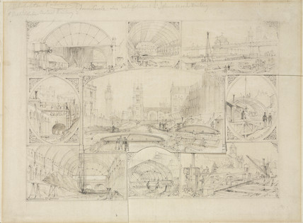 Nine views of the Metropolitan Railway during construction, 1864.