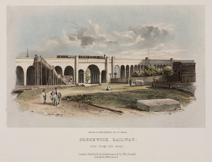 A view of the London and Greenwich Railway from Spa Road, c 1840s.