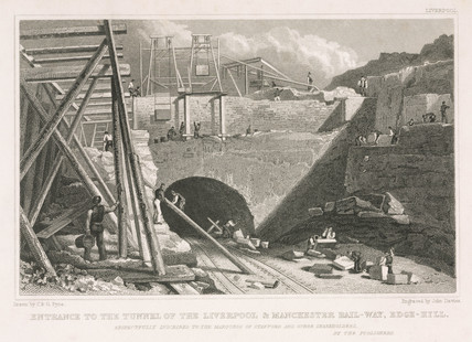 'Entrance to the tunnel of the Liverpool & Manchester Railway, Edge Hill', c 1830.