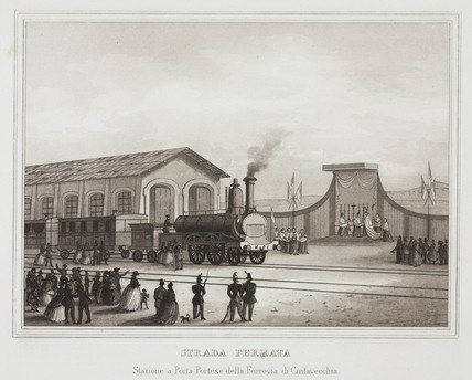 The railway station at Porta Portese on the Civitavecchi railway, Italy, c 1859.
