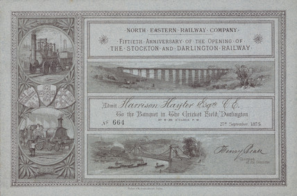 Ticket for a banquet celebrating the 50th anniversary of the SDR, 1875.