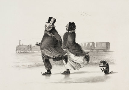Couple skating on a frozen canal, c 1840.