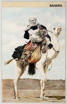 'Sahara'; Tuareg man riding a camel, 1967.