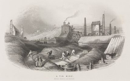 Tin mine between Cambourne and Redruth, Cornwall, c 1860.