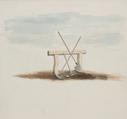 Miner's bench and tools, Northumberland, c 1805-1820.