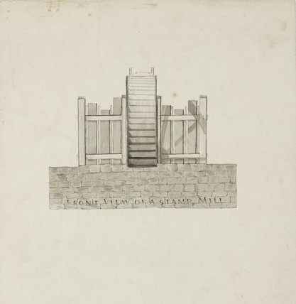 'Front view of a stamp mill', Northumberland, c1805-30.