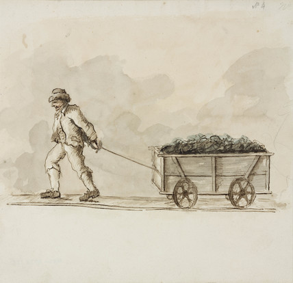 Miner and wagon, Northumberland, c 1805-1820.