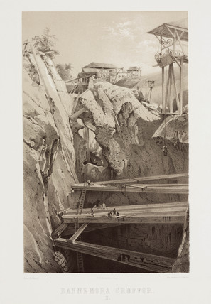 The workings at Dannemora iron mine, Sweden, c 1856.