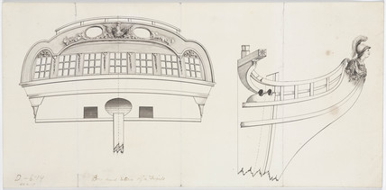 Elevation of a bow and stern of a frigate, 19th century.