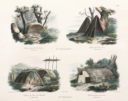 Four types of house, New Holland and New Zealand, 1826-1829.