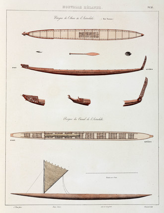 Canoes, New Zealand, 1826-1829.