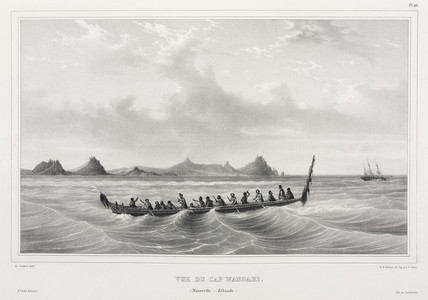 Maori canoe seen from Wangari Point, New Zealand, 1826-1829.