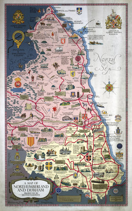 'A Map of Northumberland and Durham', BR poster, 1949.