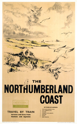 'The Northumberland Coast', BR (NER) poster, 1961.