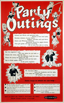 'Party Outings', BR (NER) poster, c 1960.