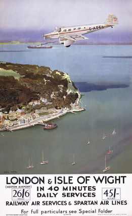 'London & Isle of Wight in 40 Minutes', SR poster, 1935.