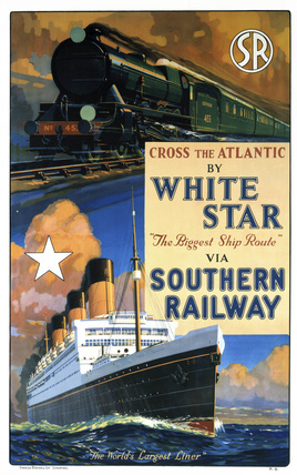 'Cross the Atlantic by White Star', SR poster, c 1926.
