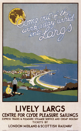 'Lively Largs', LMS poster, 1923-1947.