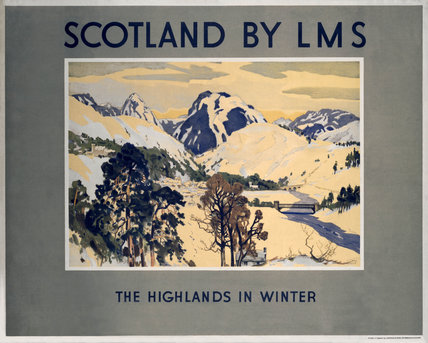 'Scotland by LMS - The Highlands in Winter', LMS poster, 1923-1947.