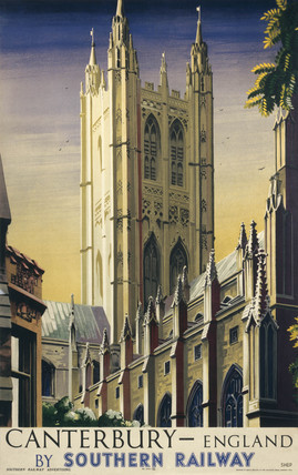 'Canterbury', SR poster, 1938. Colour poste