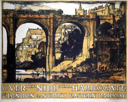'Over the Nidd near Harrogate', LNER poster, 1923-1947.