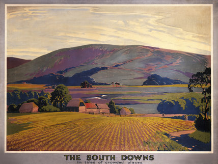 The South Downs, SR Poster, c 1930s. Trimme
