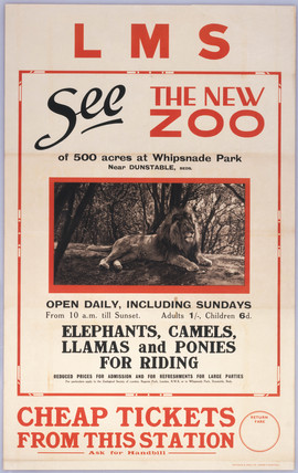 'See the New Zoo', LMS poster, c 1930s.