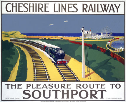 'The Pleasure Route to Southport', Cheshire Lines Railway poster, 1935.