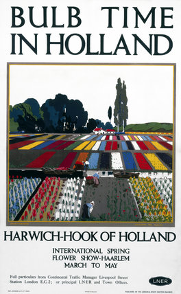 'Bulb Time in Holland - Collecting the Blooms', LNER poster, 1923-1947.