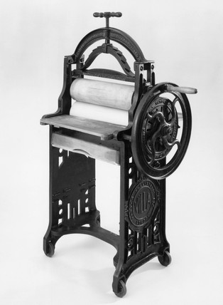 Villa domestic mangle, c 1870.
