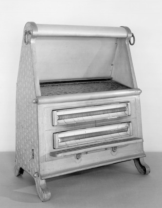 'Cosyglo' portable electric coal-effect fire, 1926.