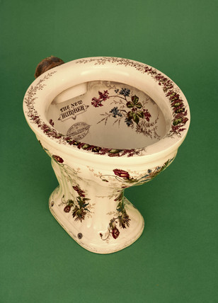Decorated pedestal water closet 'The New Humber', c 1880.